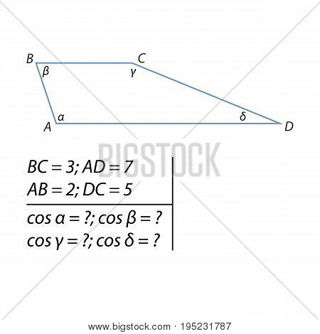Vector illustration of the problem of finding cosines trapeze