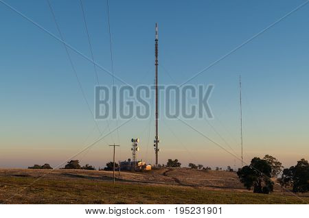 Dookie, Australia - April 18, 2017: television transmission towers on top of Mount Major, in the Goulburn Valley near Shepparton.