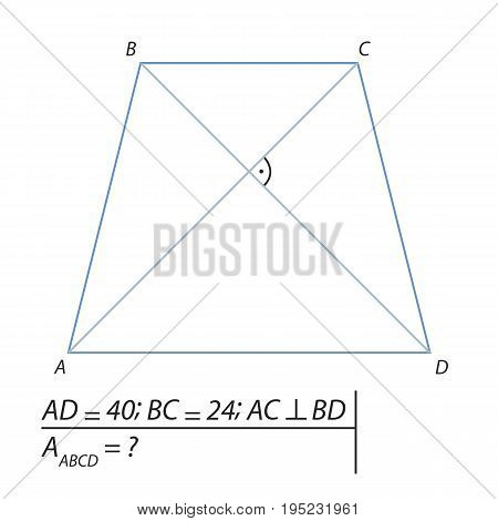Vector illustration of a geometrical problem for finding the area of a trapezoid ABCD-01
