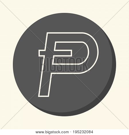 Symbol of digital crypto currency Potcoin round line icon with illusion of volume simple color change