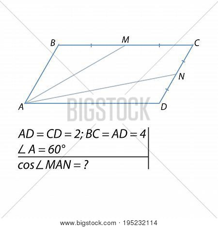 Vector illustration of the problem of finding the cosine of the angle between the straight lines
