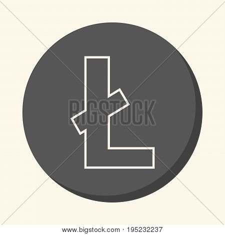 Symbol of digital crypto currency litecoin round line icon with illusion of volume simple color change
