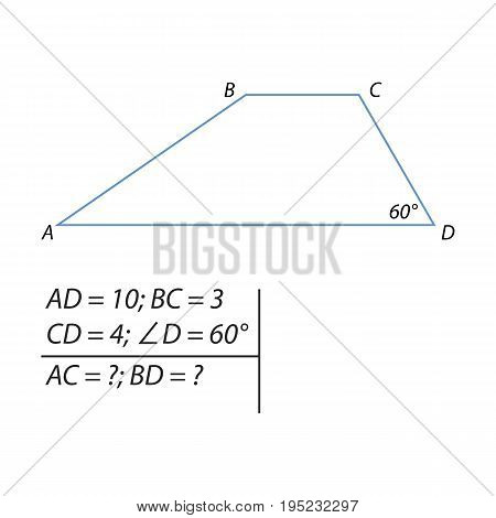 Vector illustration of the problem of finding the diagonals of the trapezium