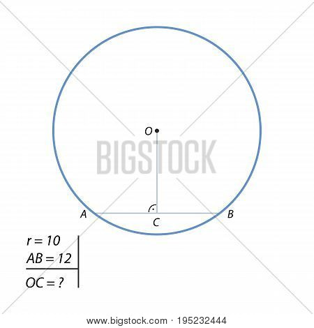 Find the distance of the radius of the circle 10 to the center of the chord of 12.