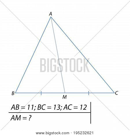 Vector illustration of the problem of finding the median of the triangle