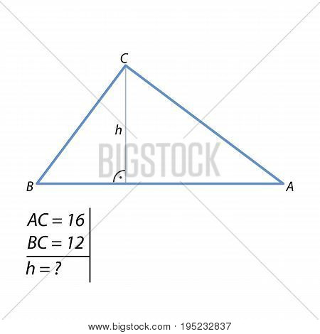 The task of finding the right triangle height