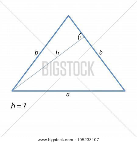 The task of finding the height of an isosceles triangle