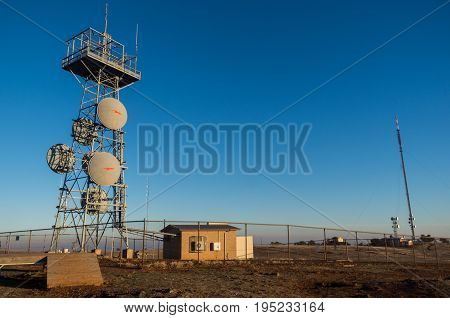 Dookie Australia - April 18 2017: television transmission towers on top of Mount Major in the Goulburn Valley near Shepparton.