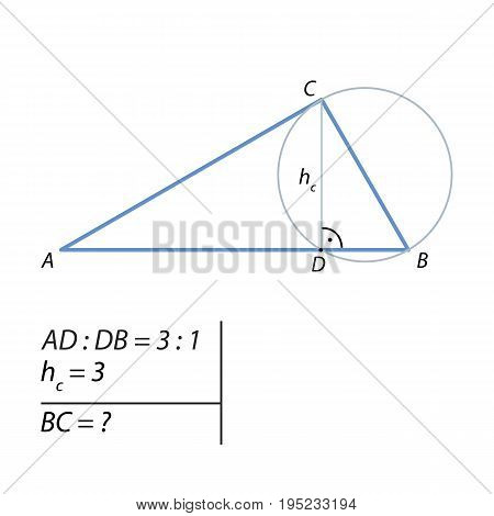 problem of finding the leg of a right triangle
