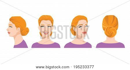 Vector illustration of woman's face on white background. Various turns heads. Face in side view, front view, half-turn and back view. Women with sheaf hairstyle
