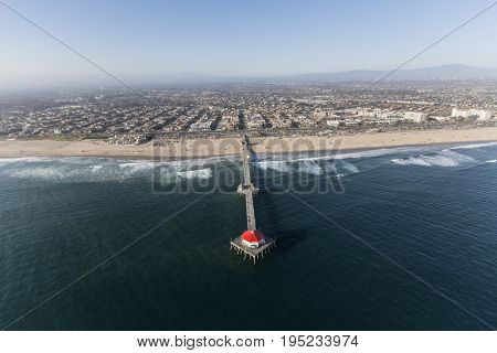 Aerial view of popular Huntington Beach Pier in Southern California.