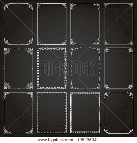 Decorative vintage frames borders backgrounds rectangle proportions set 5 vector