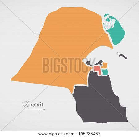 Kuwait Map With States And Modern Round Shapes