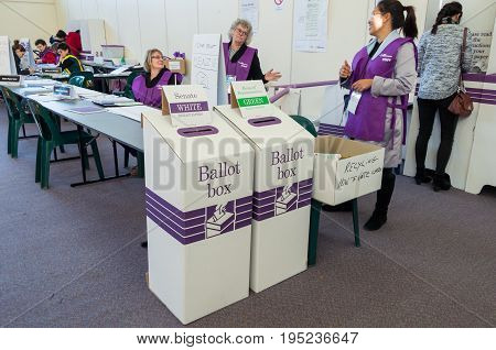 Melbourne Australia - July 2 2016: Australian Electoral Commission workers at a polling booth on 2016 federal election day.