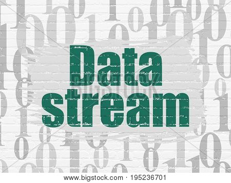 Information concept: Painted green text Data Stream on White Brick wall background with  Binary Code