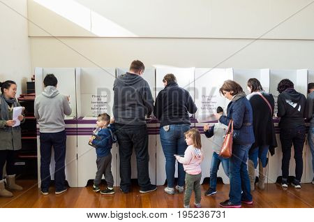 Melbourne Australia - July 2 2016: voters inside a polling booth on the 2016 federal election date.