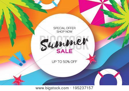 Summer Sale Template banner. Beach rest. Summer vacantion poster. Top view on colorful beach elements. Circle frame with space for text. Paper art style. Vector