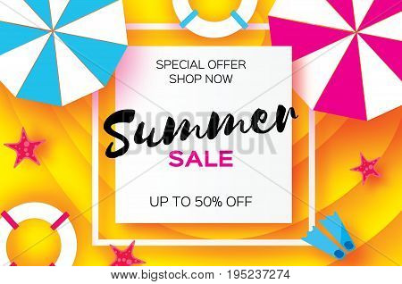 Summer Sale Template banner. Beach rest. Summer vacantion poster. Top view on colorful beach elements. Square frame with space for text. Paper art style. Vector