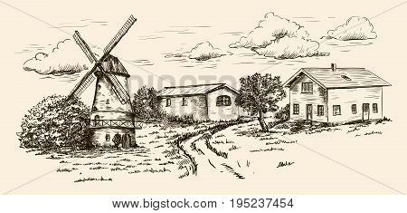 windmill, village houses and farmland. vector sketch drawn by hand on a beige background