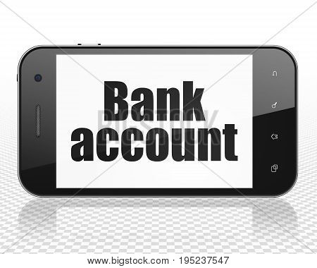 Banking concept: Smartphone with black text Bank Account on display, 3D rendering