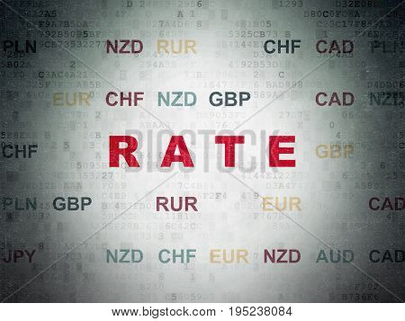 Banking concept: Painted red text Rate on Digital Data Paper background with Currency
