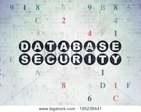 Safety concept: Painted black text Database Security on Digital Data Paper background with Hexadecimal Code