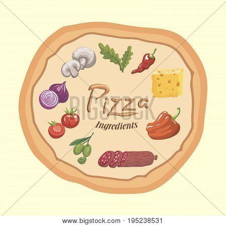 Foodstuffs. Ingredients for pizza. Color vector illustration on beige background