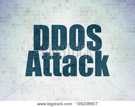 Safety concept: Painted blue word DDOS Attack on Digital Data Paper background