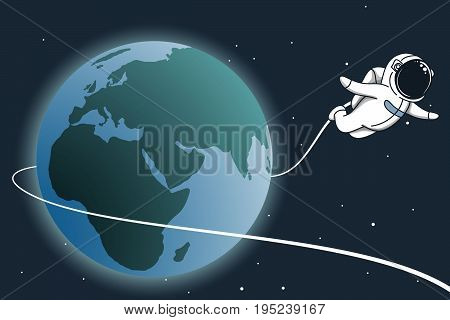 Astronaut flying around the Earth.Hand drawn childish vector illustration
