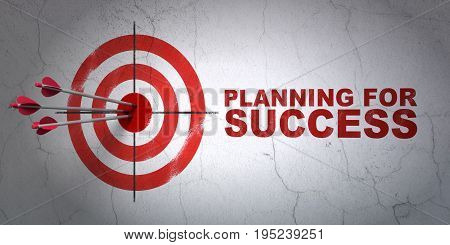 Success finance concept: arrows hitting the center of target, Red Planning for Success on wall background, 3D rendering