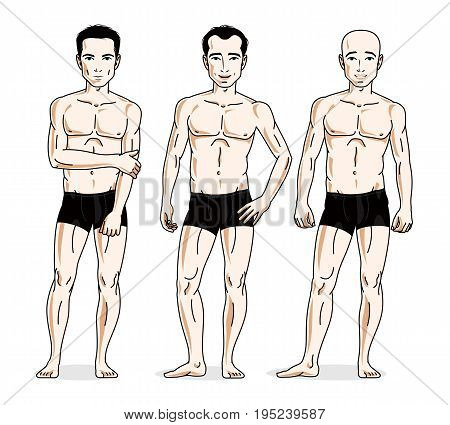 Confident handsome men posing in black underwear. Vector people illustrations set.