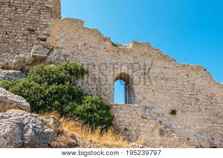 Ruins the Castle of Kritinia (Kastelos). Rhodes Greece