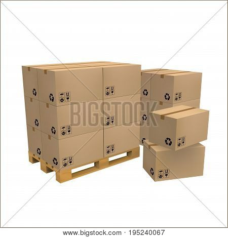 Brown carton delivery packaging box with fragile signs on wooden pallet isolated on white background. vector illustration.