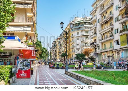 THESSALONIKI GREECE - SEPTEMBER 17 2016: Dimitriou Gounari street - pedestrian area in city centre