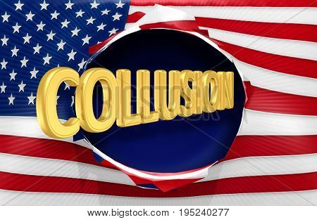Collusion Bursting Out Of The American Flag 3D Illustration
