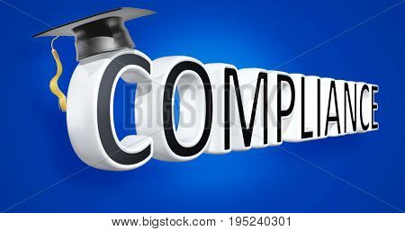 Compliance With A Mortar Board 3D Illustration