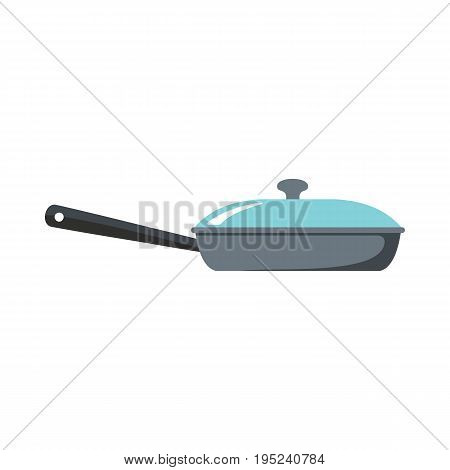 Pan dish cartoon icon. Kitchen tool, cookware and kitchenware vector illustration for you kitchen design
