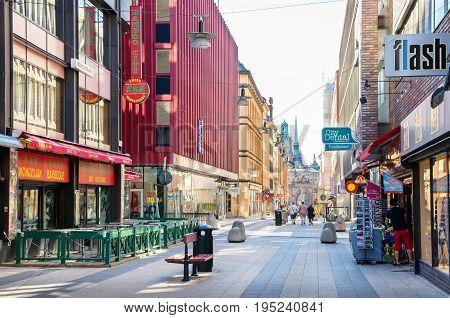 STOCKHOLM SWEDEN - JUNE 04 2011: Drottninggatan (Queen Street) is a major pedestrian street in city