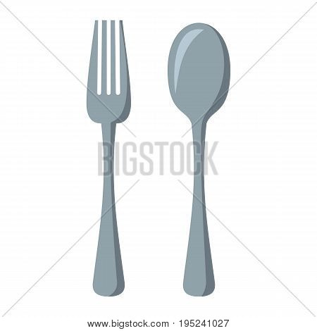 Fork and spoon cartoon icon. Kitchen tool, cookware and kitchenware vector illustration for you kitchen design