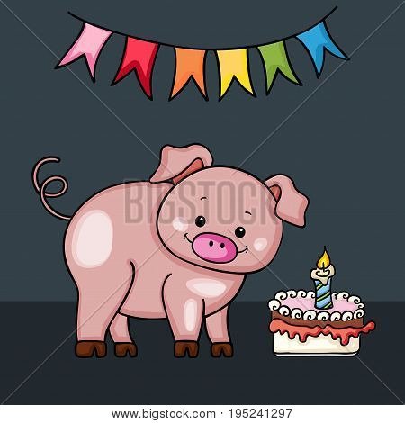 Scalable vectorial image representing a cute pig Happy Birthday card.