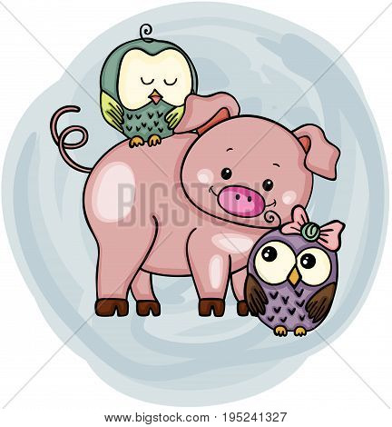 Scalable vectorial image representing a cute pig with owls, isolated on white.