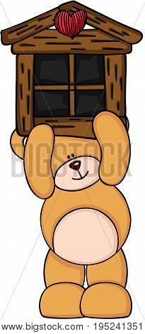 Scalable vectorial image representing a teddy bear holding little wood house, isolated on white.