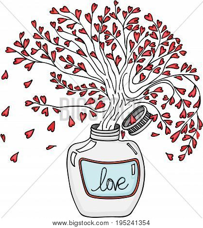 Scalable vectorial image representing a tree love inside jar, isolated on white.