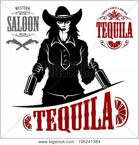 Cowgirl with bottle tequila - vector picture. Isolated on white.