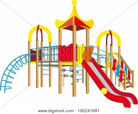 Bright children s playground for kids with a ladder and slide