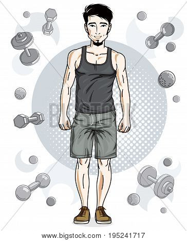 Confident handsome brunet young man with beard is standing on simple background with dumbbells and barbells. Vector illustration of sportsman sport style.