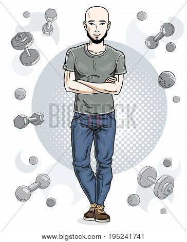 Confident handsome bald young man with beard is standing on simple background with dumbbells and barbells. Vector illustration of sportsman sport style.