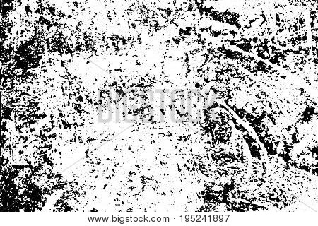 Old weathered concrete wall. Rustic stone vector texture. Black stains and noise for distressed effect. Scratched and worn vintage overlay. Black ink drips on white. Monochrome weathered background