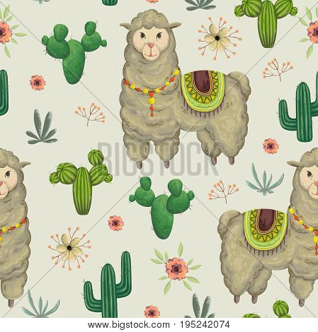 Seamless pattern with lama animal, cacti and floral elements. Hand drawn vector illustration in watercolor style.