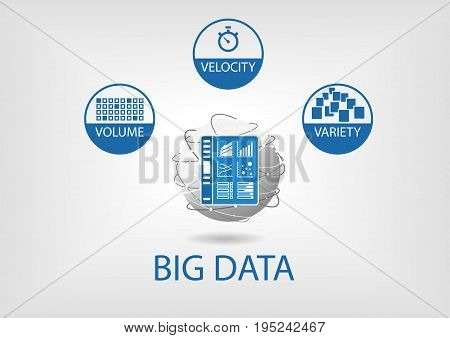 Big data volume, variety, velocity vector illustration